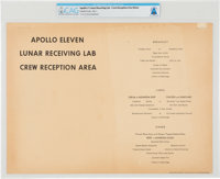 Apollo 11 Quarantine: Lunar Receiving Lab Crew Menu from Stouffer Foods for Day One, Directly From The Armstrong F