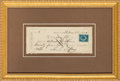 Autographs, Louis C. Tiffany Check Signed ...