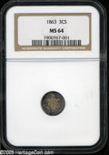 Three Cent Silver: , 1863 3CS MS64 NGC. Semi-prooflike, as should be expected of thisbriefly minted issue, with a bit of waviness to the planch...