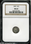 Three Cent Silver: , 1869 3CS MS64 NGC. Wisps of lavender patina gravitate to the rimsof this otherwise nearly brilliant Three Cent Silver piec...
