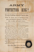 Miscellaneous:Broadside, [Civil War]. Soldiers' Protection Ring Broadside with Ring....