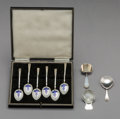 Silver Flatware, British:Flatware, A Set of Six English Enameled Silver Demitasse Spoons with Three English Silver Tea Caddy Spoons. Marks: (various). 4 inches... (Total: 9 )