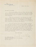 Autographs:U.S. Presidents, Calvin Coolidge Typed Letter Signed ...