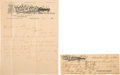 Autographs:Celebrities, [Coca Cola Company]. Asa G. Candler Autograph Letter Signed andCheck Signed... (Total: 2 Items)