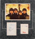 Music Memorabilia:Autographs and Signed Items, Beatles Autograph and Photo Tableau....