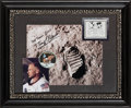 Explorers:Space Exploration, Buzz Aldrin Signed Lunar Bootprint Color Photo with Actual Reduction Replica of Lunar Plaque, in Framed Display. ...