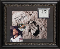 Buzz Aldrin Signed Lunar Bootprint Color Photo with Actual Reduction Replica of Lunar Plaque, in Framed Display