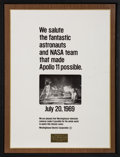 Explorers:Space Exploration, Apollo 11: Westinghouse Large Promotional Print in Frame, Presented to Neil Armstrong. ...