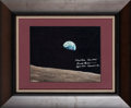 "Explorers:Space Exploration, Apollo 8: Frank Borman Signed ""Earthrise"" Color Photo in Framed Display. ..."