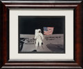 Explorers:Space Exploration, Edgar Mitchell Signed Lunar Flag Color Photo with Photographic Provenance, in Framed Display....