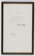 Explorers:Space Exploration, President Ronald Reagan: Presidential Order Appointing Armstrong Vice Chairman of the Rogers Commission, in Framed Display, ...