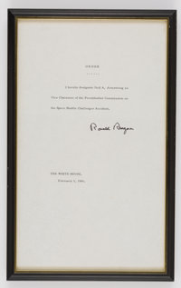 President Ronald Reagan: Presidential Order Appointing Armstrong Vice Chairman of the Rogers Commission, in Framed Displ...
