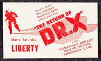 "The Return of Dr. X (Warner Brothers, 1939). Promotional Item (2"" X 3.5""). Horror"