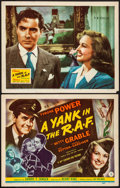 "Movie Posters:War, A Yank in the R.A.F. (20th Century Fox, 1941). Title Lobby Card & Lobby Card (11"" X 14""). War.. ..."