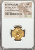 Ancients:Byzantine, Ancients: Constans II Pogonatus (AD 641-668). AV solidus (20mm,4.39 gm, 7h). NGC MS 4/5 - 4/5, clipped....