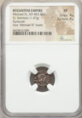 Ancients:Byzantine, Ancients: Michael III the Drunkard (AD 842-867), with Basil I theMacedonian. EL semissis (13mm, 1.47 gm, 5h). NGC XF 4/5 - 4/5....