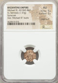 Ancients:Byzantine, Ancients: Michael III the Drunkard (AD 842-867). AV/EL semissis(12mm, 1.57 gm, 6h). NGC AU 5/5 - 3/5, edge scuff....