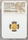 Ancients:Byzantine, Ancients: Maurice Tiberius (AD 582-602). AV tremissis (15mm, 0.96gm, 7h). NGC AU 2/5 - 2/5, clipped....