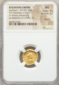 Ancients:Byzantine, Ancients: Justinian I the Great (AD 527-565). AV tremissis (16mm, 1.47 gm, 7h). NGC MS 4/5 - 3/5, clipped....