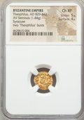 Ancients:Byzantine, Ancients: Theophilus (AD 829-842). AV semissis (13mm, 1.84 gm, 5h).NGC Choice XF 5/5 - 4/5....