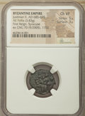 Ancients:Byzantine, Ancients: Justinian II, First Reign (AD 685-695). AE follis (19mm, 3.83 gm, 6h). NGC Choice VF 5/5 - 3/5....