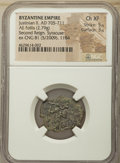 Ancients:Byzantine, Ancients: Justinian II, Second Reign (AD 705-711). AE follis (22mm,2.79 gm, 6h). NGC Choice XF 5/5 - 3/5....