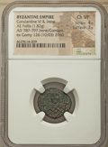 Ancients:Byzantine, Ancients: Constantine VI and Irene (AD 780-797). AE follis (19mm,1.82 gm, 6h). NGC Choice VF 4/5 - 3/5....