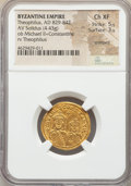 Ancients:Byzantine, Ancients: Theophilus (AD 829-842), with Michael II Armorian andConstantine. AV solidus (22mm, 4.43 gm, 6h). NGC Choice XF 5/5 -3/5, cr...
