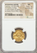 Ancients:Byzantine, Ancients: Leontius (AD 695-698). AV solidus (18mm, 4.49 gm,6h).NGC MS 3/5 - 4/5....