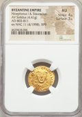 Ancients:Byzantine, Ancients: Nicephorus I and Stauracius (AD 803-811). AV solidus(19mm, 4.41 gm, 6h). NGC AU 4/5 - 3/5....