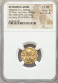 Ancients:Byzantine, Ancients: Romanus IV Diogenes (AD 1068-1071), with Eudocia. AVtetarteron nomisma (18mm, 4.04 gm, 6h). NGC Choice XF 4/5 - 4/5....