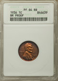 1936 1C Type Two--Brilliant Finish PR64 Red and Brown ANACS. NGC Census: (46/19). PCGS Population: (132/18). Mintage 5,5...