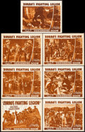 """Movie Posters:Serial, Zorro's Fighting Legion (Republic, 1939). Title Lobby Card & Lobby Cards (6) (11"""" X 14"""") Chapter 3 -- """"Descending Doom."""" Ser... (Total: 7 Items)"""