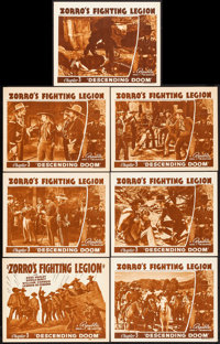 """Zorro's Fighting Legion (Republic, 1939). Title Lobby Card & Lobby Cards (6) (11"""" X 14"""") Chapter 3 -- &quo..."""