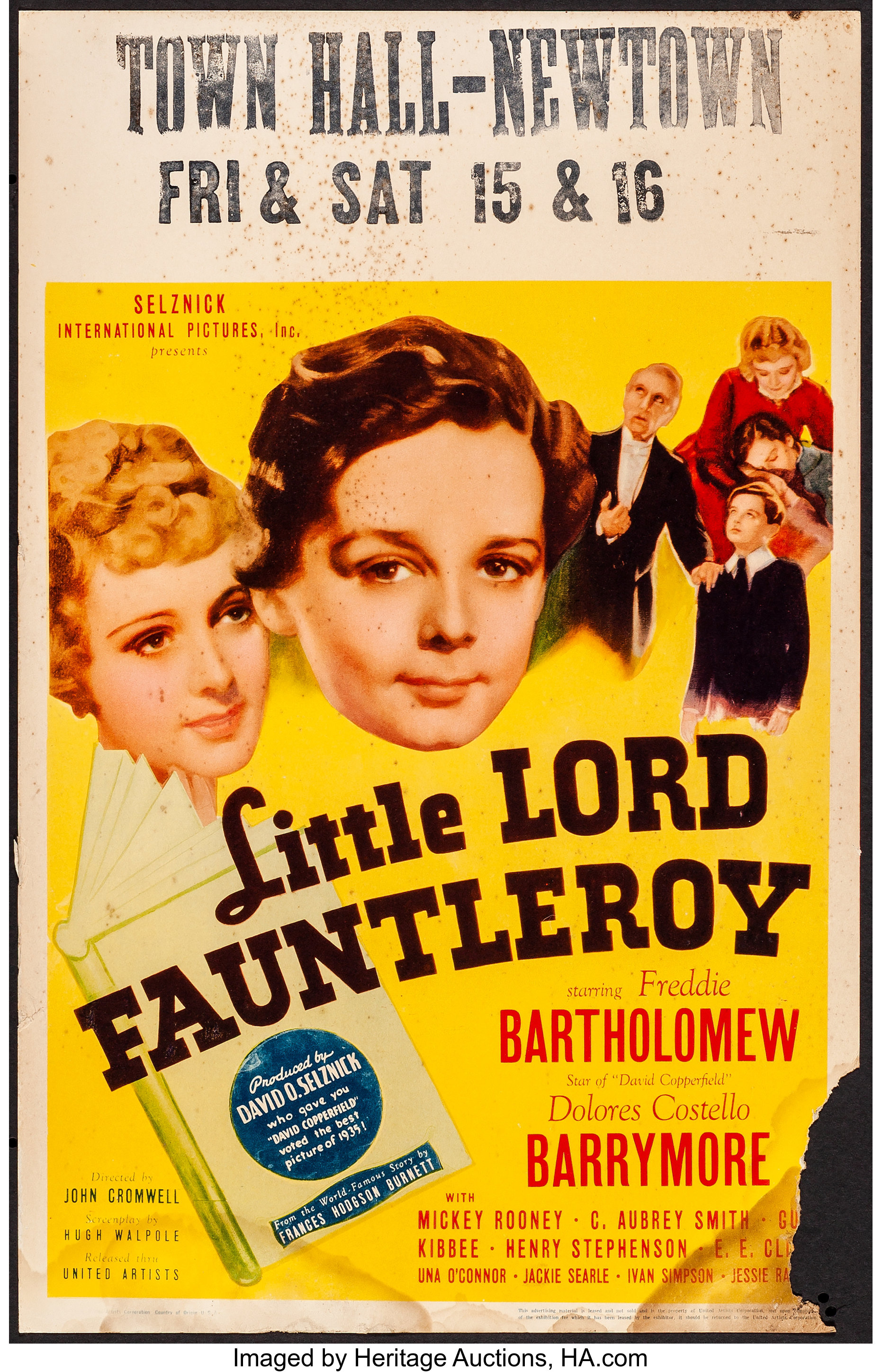 Little Lord Fauntleroy United Artists 1936 Window Card 14 X Lot 54223 Heritage Auctions