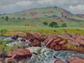 Paintings, Fred Darge (American, 1900-1978). At the Ranch. Oil on canvasboard. 12 x 16 inches (30.5 x 40.6 cm). Signed lower right:...