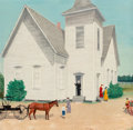 Fine Art - Painting, American, Velox Benjamin Ward (American, 1901-1994). See You NextSunday, 1961. Oil on panel. 23-3/4 x 23-3/4 inches (60.3 x 60.3...