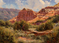 Kenny McKenna (American, b. 1950) Spanish Skirts -- Palo Duro Canyon Oil on canvas 15 x 20 inches