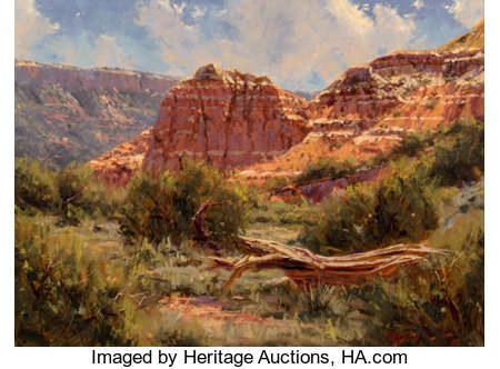 Kenny McKenna (American, b. 1950) Spanish Skirts -- Palo Duro Canyon Oil on canvas 15 x 20 inches (38.1 x 50.8 cm) S...