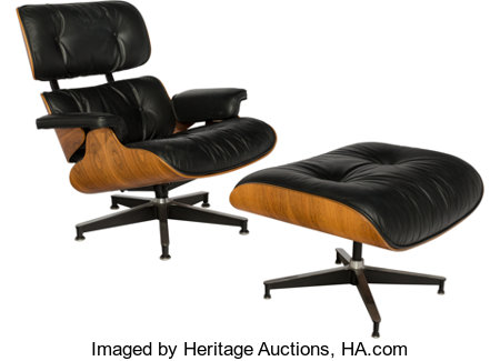 Charles Eames (American, 1907-1978) & Ray Kaiser Eames (American, 1912-1988)Eames Lounge Chair (670) and Ottoman (671)... (Total: 2 Items)