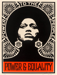 Shepard Fairey (American, b. 1970) The Power (Black), 2007 Screenprint in colors on cream speckled p