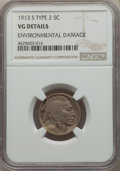1913-S 5C Type Two -- Environmental Damage -- NGC Details. VG. NGC Census: (88/1701). PCGS Population: (143/3090). CDN:...