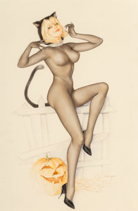 Alberto Vargas (American, 1896-1982) Trick or Treat, Playboy interior illustration, October 1967 Mix