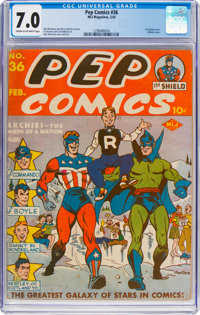 Pep Comics #36 (MLJ, 1943) CGC FN/VF 7.0 Cream to off-white pages