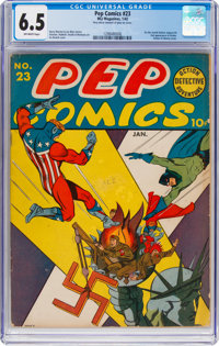Pep Comics #23 (MLJ, 1942) CGC FN+ 6.5 Off-white pages