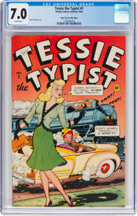 Tessie the Typist #1 Mile High Pedigree (Timely, 1944) CGC FN/VF 7.0 White pages