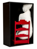 Sculpture, George Segal (1924-2000). Girl on a Chair, 1970. Plaster sculpture and painted chair, contained within black painted lum...