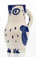 Sculpture, Pablo Picasso (1881-1973). Hibou, 1954. White earthenware ceramic pitcher with blue and white engobe and glaze. 9-1/2 in...