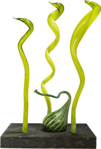 Dale Chihuly (American, born 1941) Mille Fiori IV Section K, 2004 Blown glass, wood 66 x 38-1/2