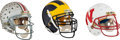 Football Collectibles:Helmets, 1988-92 Michigan, Wisconsin and Ohio State (Signed by A.J. Hawk) Game Worn Helmets Lot of 3.... (Total: 3 items)